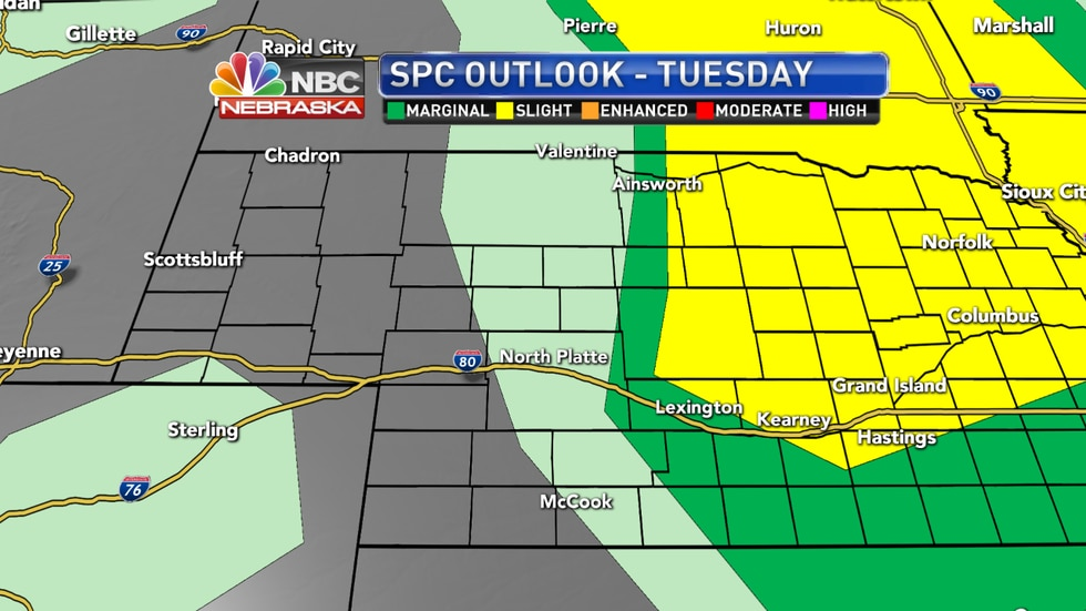 Isolated to scattered severe storms are possible Tuesday evening across parts of the western into central Nebraska.
