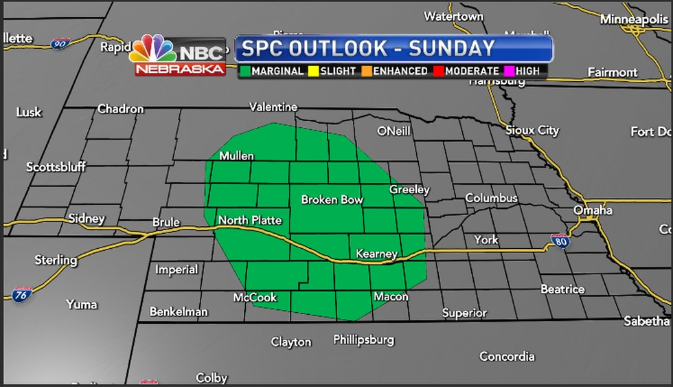 Storm Prediction Center has portions of the area under a marginal risk for severe weather(Sunday)