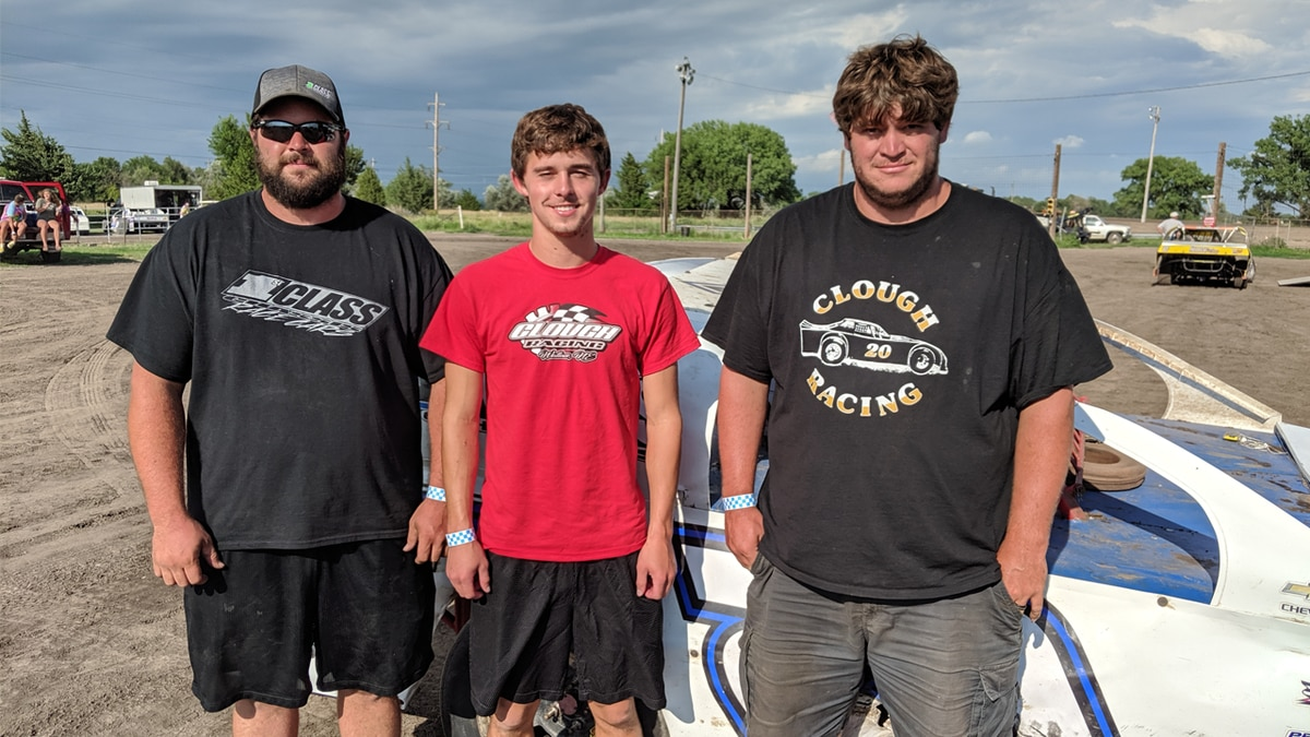 (left to right) Brandon, Tanner, and Kyle Clough race IMCA Modifieds, IMCA Hobby Stock, and IMCA Stock Cars, respectively. They all started racing when they were kids (Credit: Patrick Johnstone/KNOP-TV)