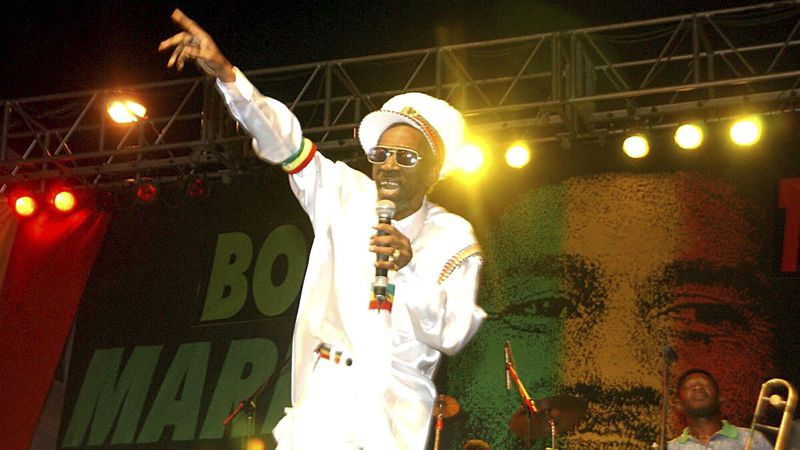 FILE - In this Feb. 6, 2005 file photo, Bunny Wailer performs at the One Love concert to...