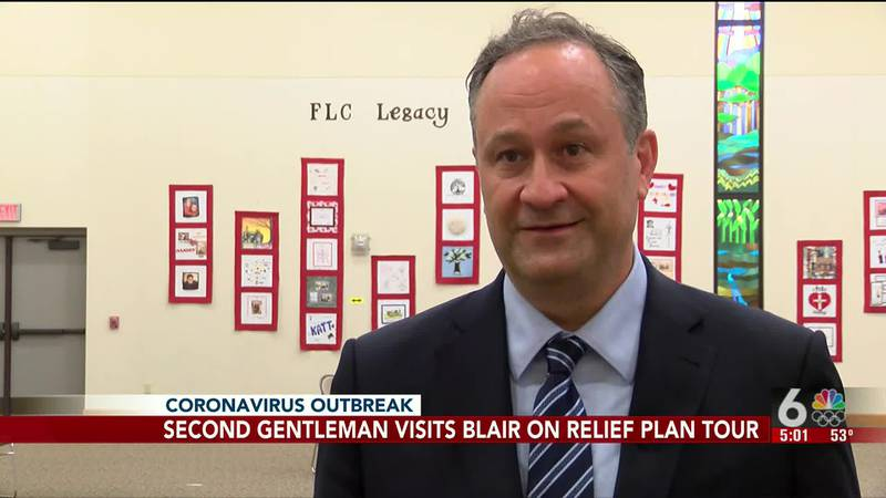 Second Gentleman visits Blair on relief plan tour-5 p.m.