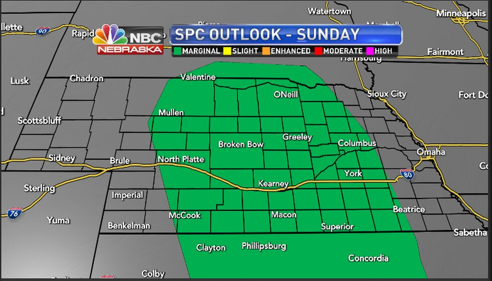 Storm Prediction Center forecasts for the area Sunday