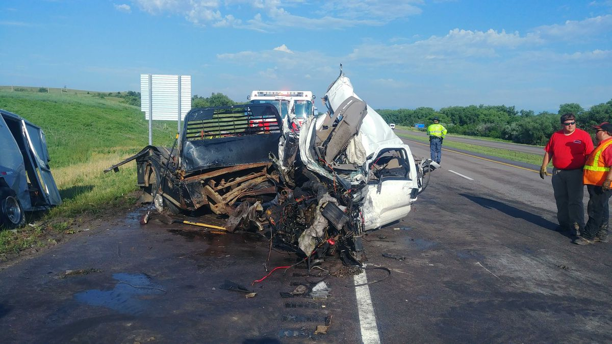 The driver of a pick-up, pulling a horse trailer, hit a semi head-on near the Sutherland rest area, in the east bound lanes of Interstate 80 Thursday morning.  The driver and the passenger in the pick up went to the hospital. The driver of the semi did not go to the hospital.