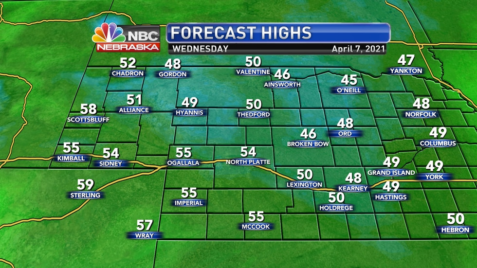 Cooler and breezy conditions are expected on Wednesday with highs falling into the mid 40s to...