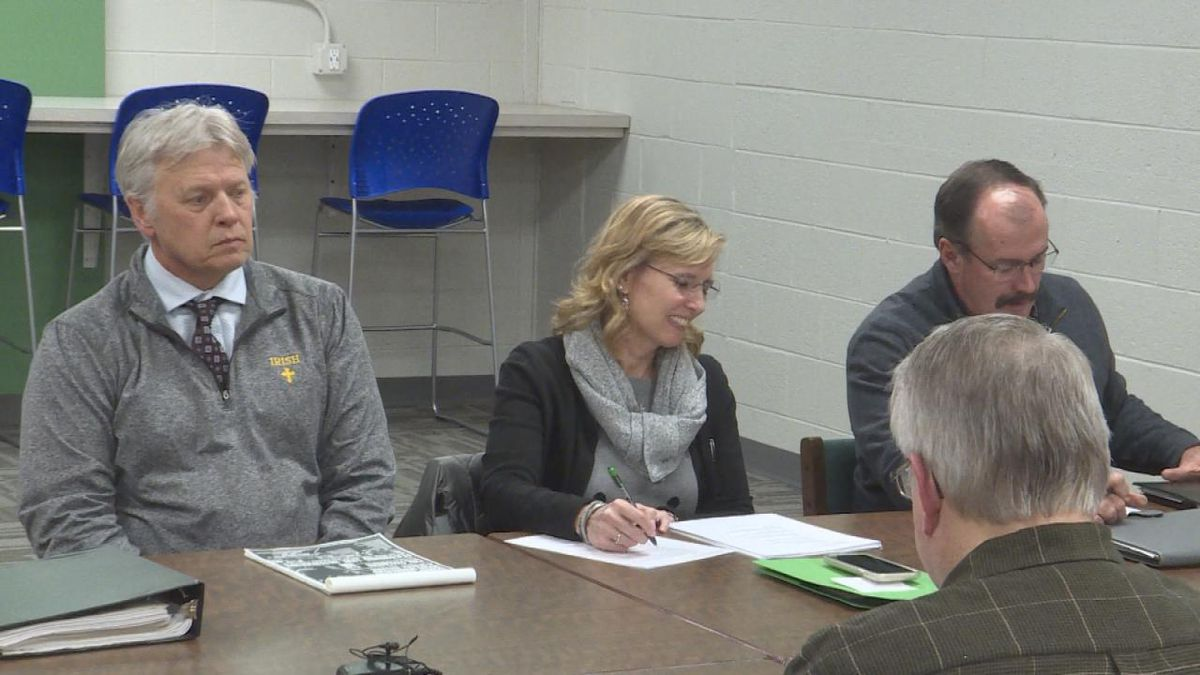 The North Platte Catholic School Board gathers to vote on whether or not to join into a co-op with Maxwell Public Schools for baseball. (Source: KNOP/Jace Barraclough)