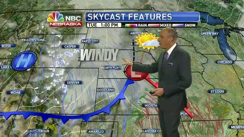 Increasing clouds and windy weather expected Tuesday.