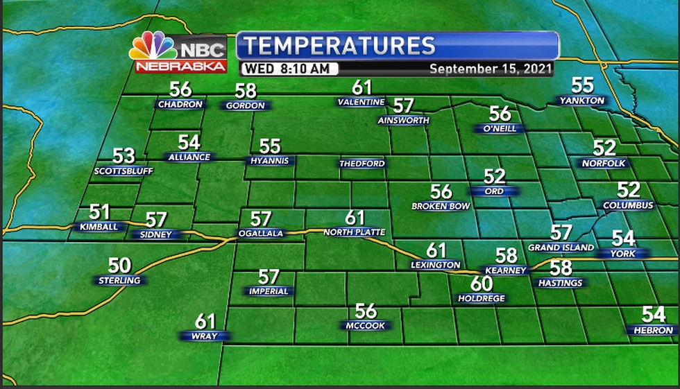 Cool temperatures Wednesday Morning