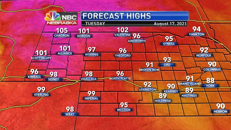 High temperatures on Tuesday should reach the low 90s to the lower 100s.