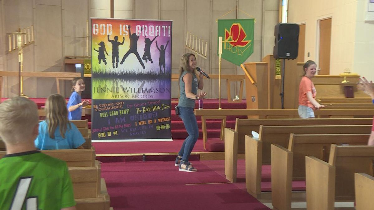 Vacation Bible School brings worship and fun. Kids dance and sing along and go home with goody bags.