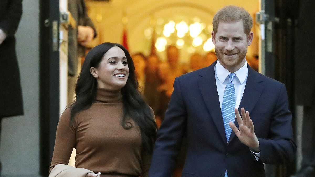 In this Jan. 7, 2020, file photo, Britain's Prince Harry and Meghan, Duchess of Sussex leave after visiting Canada House in London.