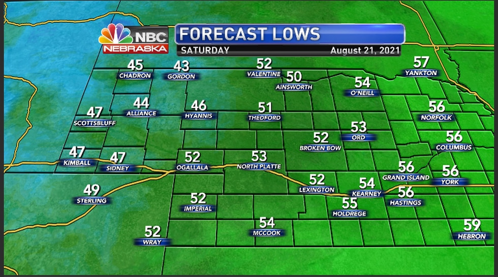 Low temperatures across the region Friday night