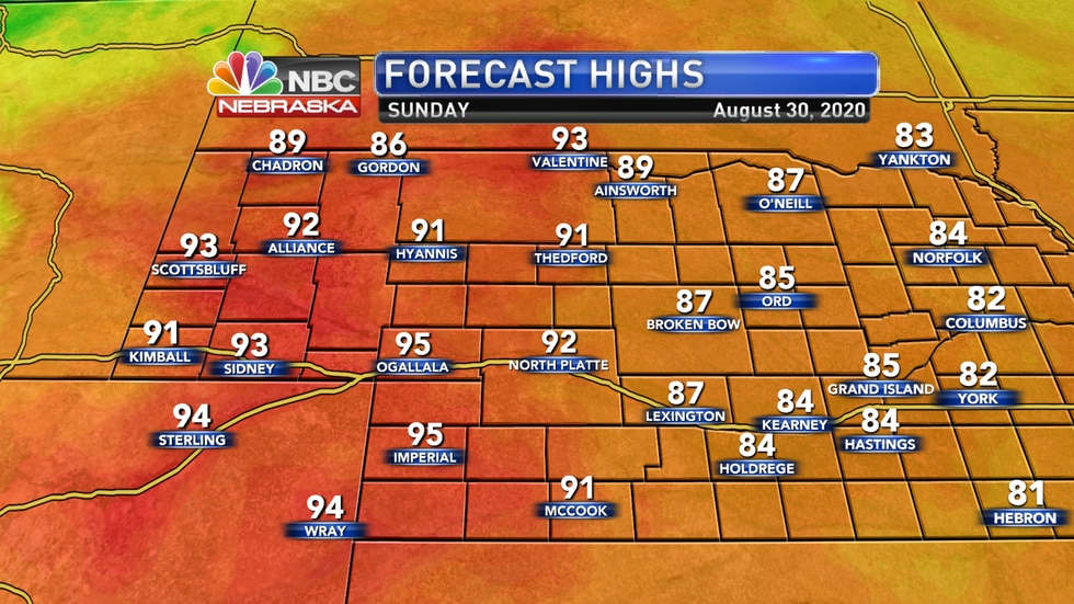 Temperatures warm up on Sunday ahead of a cold front with highs reaching the upper 80s to low...