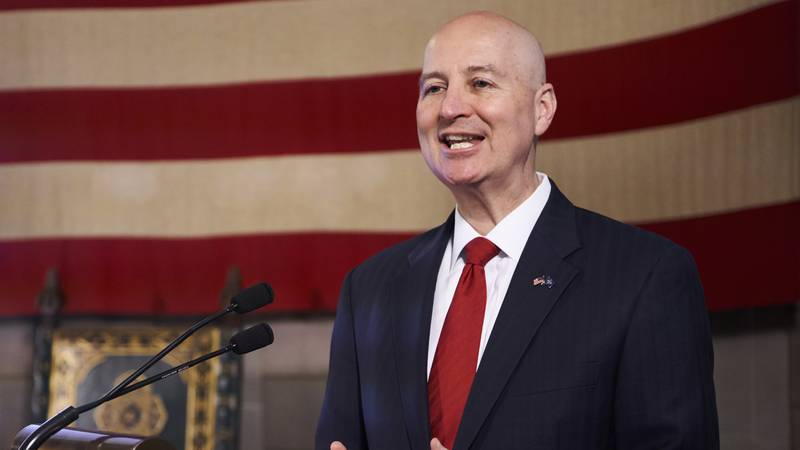 Nebraska Gov. Pete Ricketts speaks during a news conference in Lincoln, Neb., in this file...