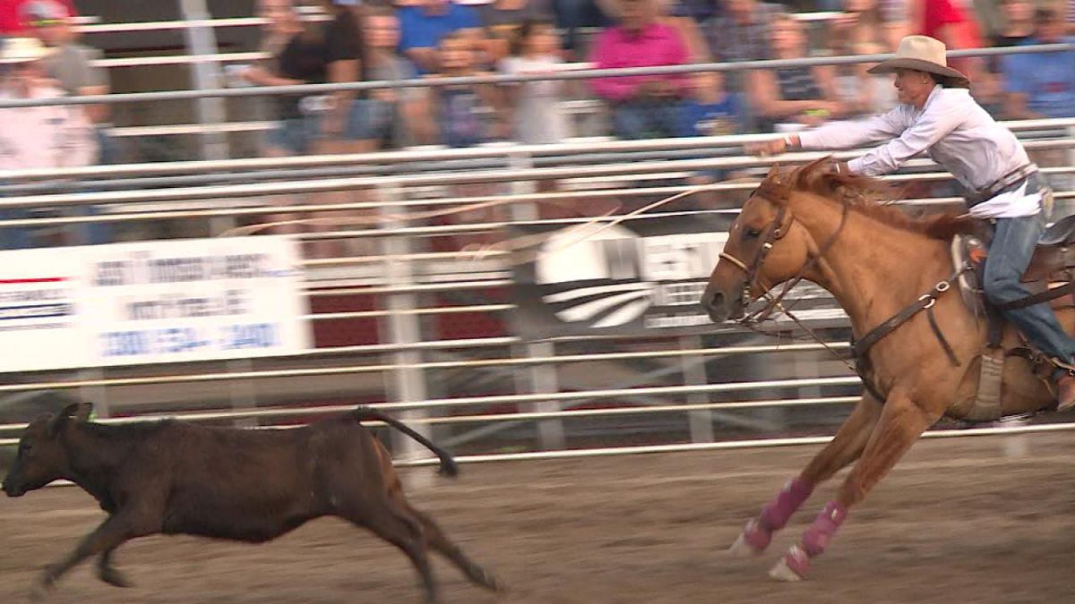 Katie Mundorf, of Mullen, NE, competes in the breakaway roping event at the Sutherland Fourth of July Rodeo. She finished tied for fourth with a time of 2.6 seconds (Credit: Patrick Johnstone/KNOP-TV)