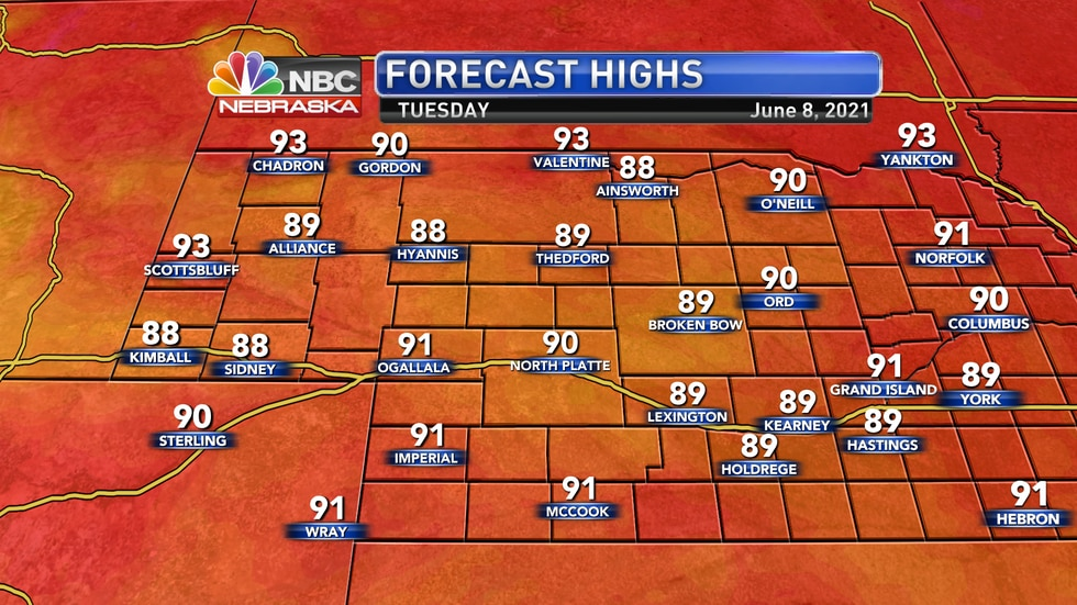 Temperatures likely remain around 90° by Tuesday afternoon.