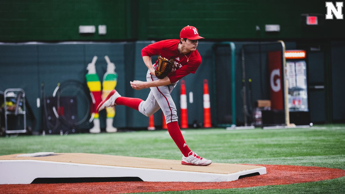 Nebraska's Cade Povich throws a pitch during the Huskers' first practice of the 2021 season.