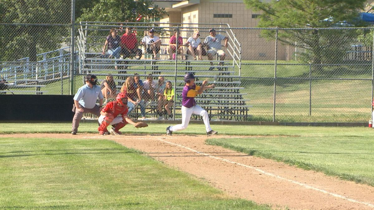 Gothenburg Melons junior Connor McCoy takes an at-bat against Cozad Friday. The Melons defeated the Reds 8-7 in the game. (Credit: Sam Pirozzi/KNOP-TV)