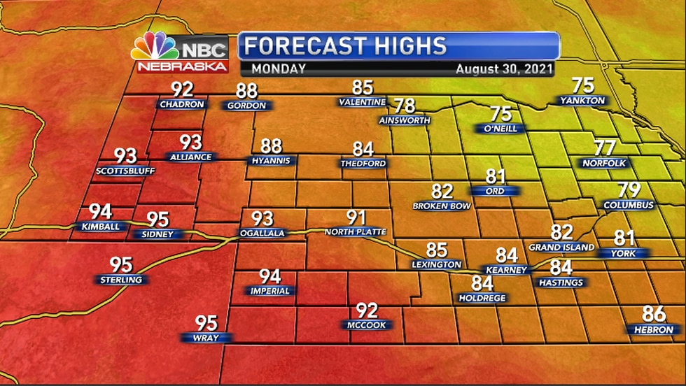 High temperatures for Monday