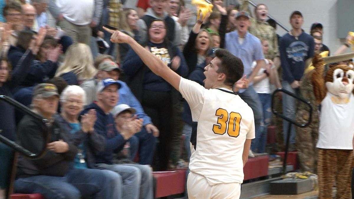 Paxton's Dane Storer celebrates after a fourth quarter block during the Tigers' 53-45 win over Axtell in the District D1-5 final. (Credit: Patrick Johnstone/KNOP-TV)