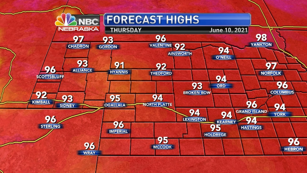 There are the actual temps... In some areas it will feel like 100.