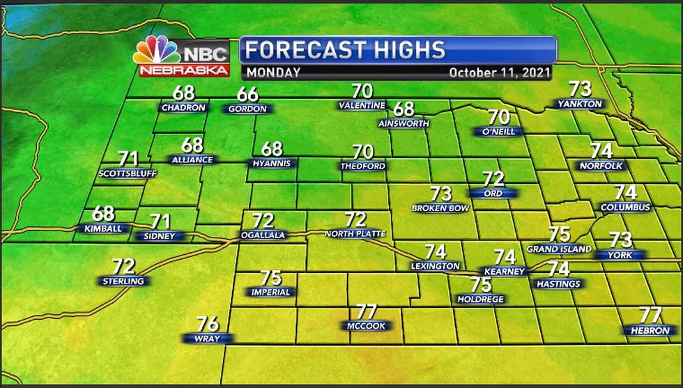 Mild temperatures for the region Monday