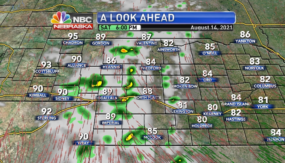 Scattered thunderstorms over Western Nebraska late afternoon into evening.