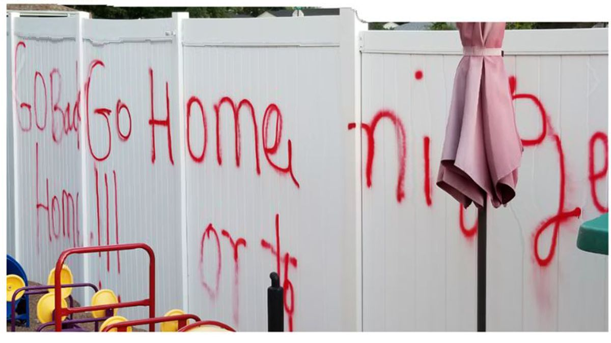 """North Platte Police are looking for the person who spray painted a racial slur on a white fence in the city in early September. The words on the fence says """"Go Back, Go Home"""" and then the N-word. (SOURCE: Lincoln County Crimestoppers)"""