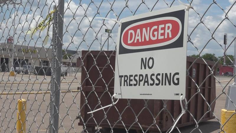 """A shot of the """"No Trespassing"""" sign at the Platte River Mall as they begin construction."""