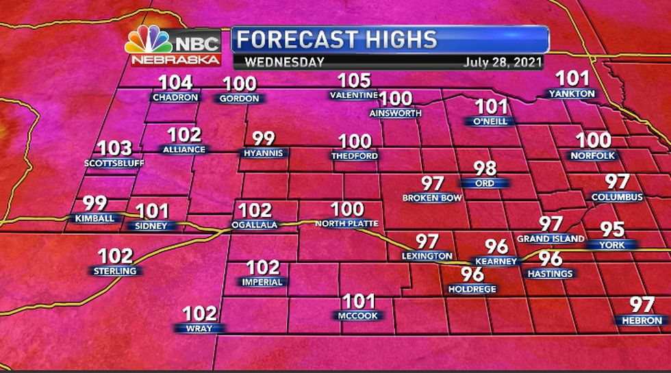 One hundred degree heat spreads east...