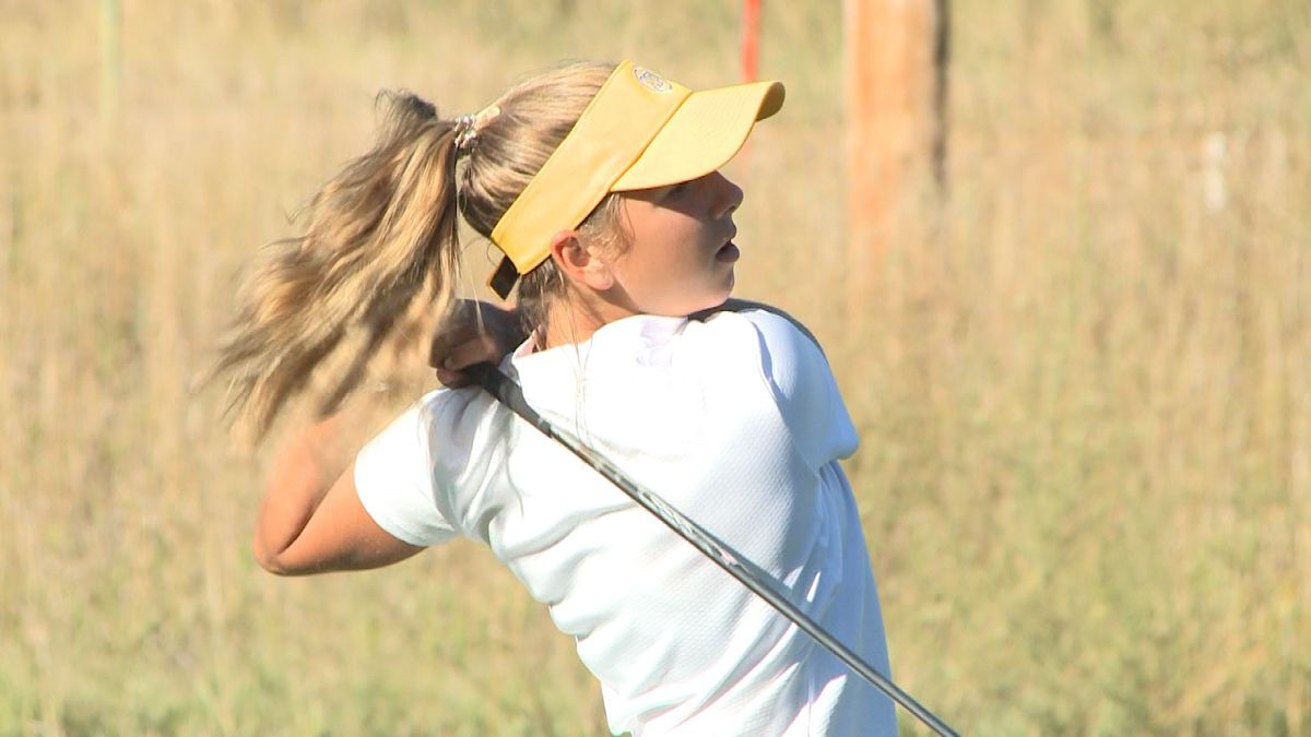 North Platte freshman Karsen Morrison tees off at Lake Maloney Golf Course at the inaugural 'Dawg-Cat Cup' against Kearney (Credit: Patrick Johnstone/KNOP-TV)