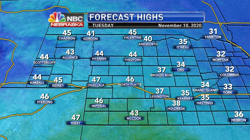 Temperatures rebound slightly on Tuesday with highs in the low to mid 40s.