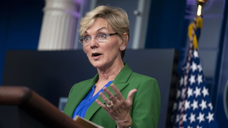 Energy Secretary Jennifer Granholm speaks during a press briefing at the White House, Tuesday,...