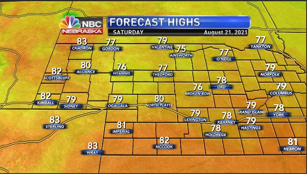 High temperatures Saturday for the region