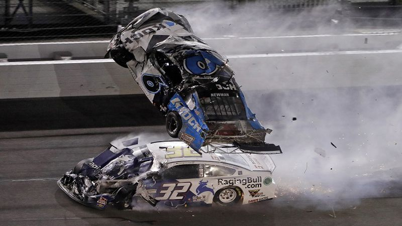 Ryan Newman (6) goes airborne after crashing with Corey LaJoie (32) during the NASCAR Daytona...