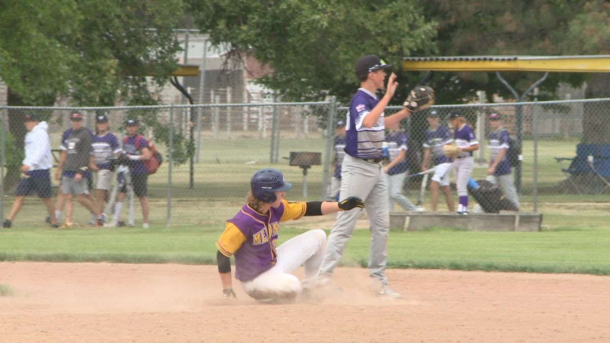 Gothenburg's Tubby Baker slides into second base on a double. The Melons junior team defeated Minden 5-1. (Credit: Patrick Johnstone/KNOP-TV)