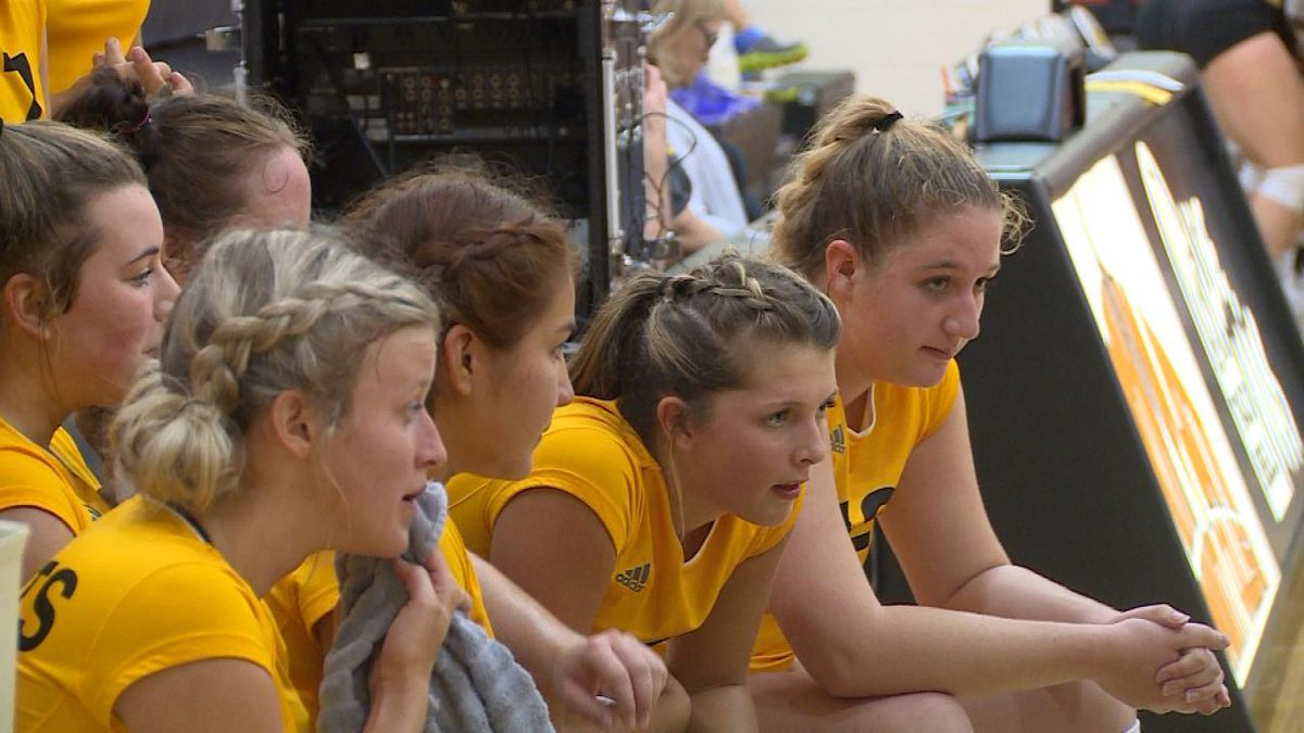 The NPCC volleyball team takes time during a timeout to lay out their game plan in Wednesday's, loss to Northeastern Junior College (Credit: Patrick Johnstone/KNOP-TV)