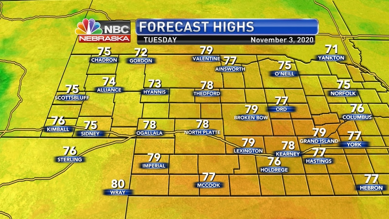 Well above temperatures are expected on Tuesday with highs in the upper 70s to near 80°.