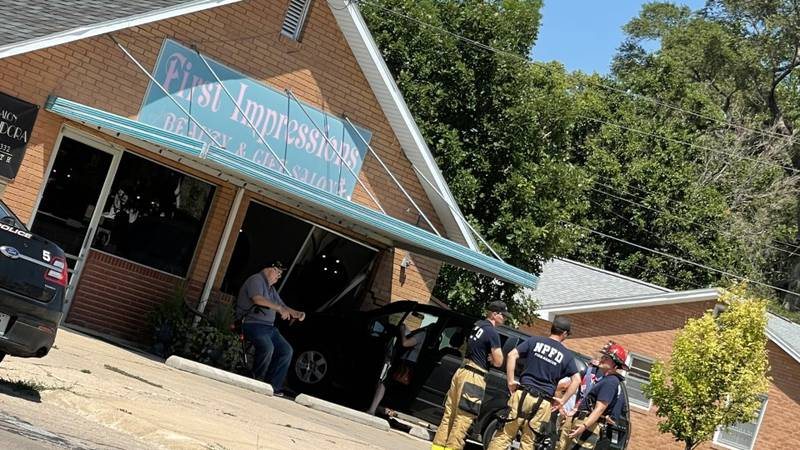 A van crashed into a local salon Wednesday. No injuries were reported.