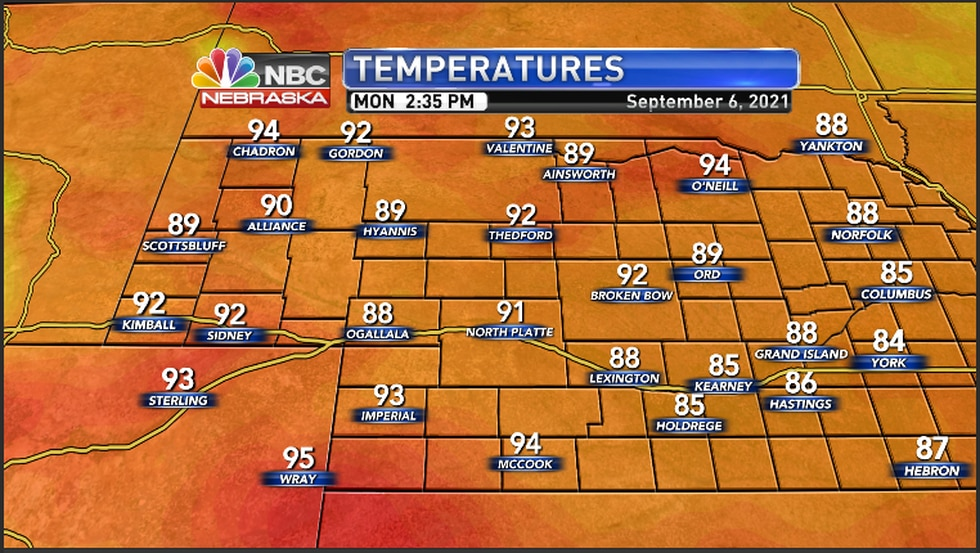 Hot conditions across the area Monday afternoon
