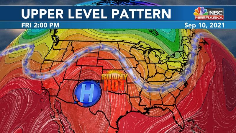 High pressure ridge brings a return to 90 and 100 degree heat through Friday.