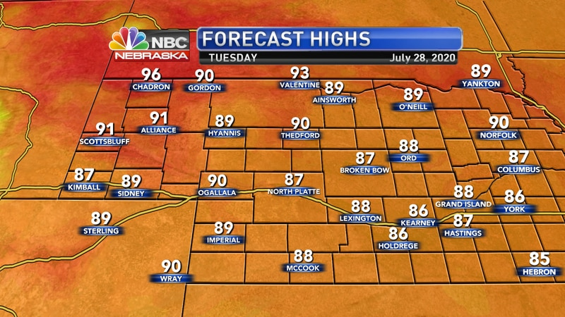 Warmer, more humid conditions are expected on Tuesday with highs in the upper 80s to low 90s.