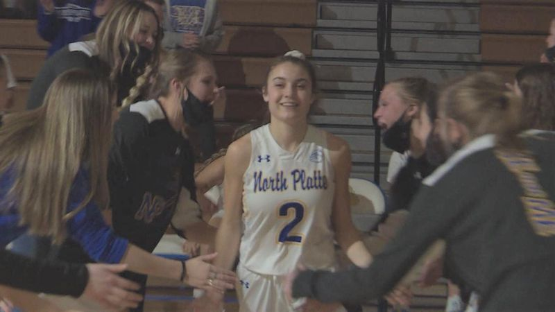 This Week's Friday Night Sports Hero cheered on by her teammates in pre-game introductions.