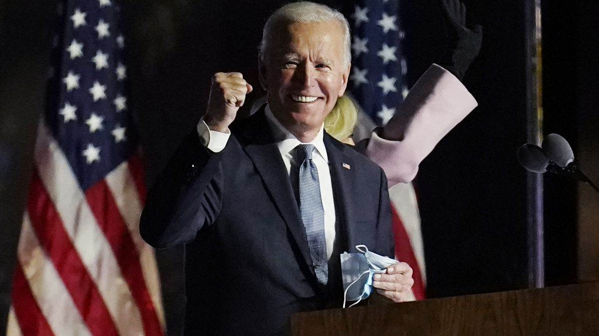 President-elect Joe Biden speaks to supporters, early Wednesday, Nov. 4, 2020, in Wilmington,...