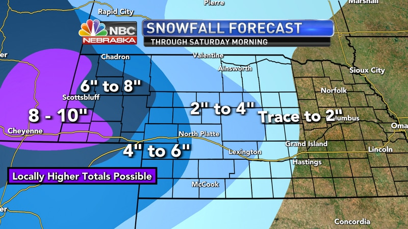 Moderate to heavy snow is expected across parts of western Nebraska into the day on Friday.