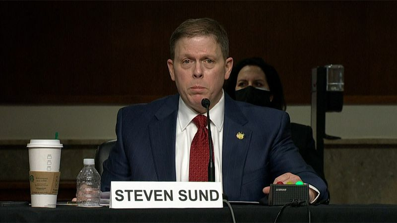 Former Capitol Police Chief Steven Sund testifies Tuesday during a hearing addressing the...