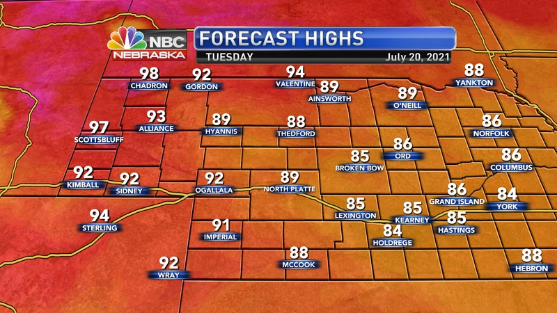 Temperatures on Tuesday afternoon should range from the mid 80s to the upper 90s.
