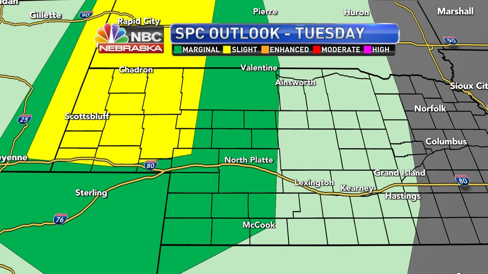 Isolated to scattered severe storms are possible into Tuesday night across western Nebraska.
