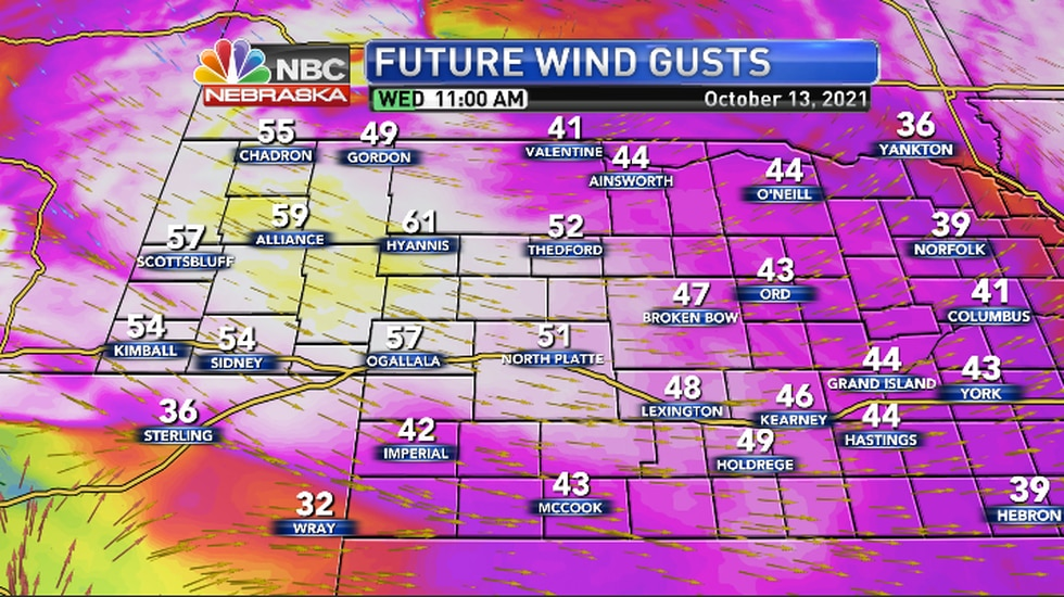 Winds will be Northwest 20 to 35 mph but gusts could reach 50 to 60 mph.