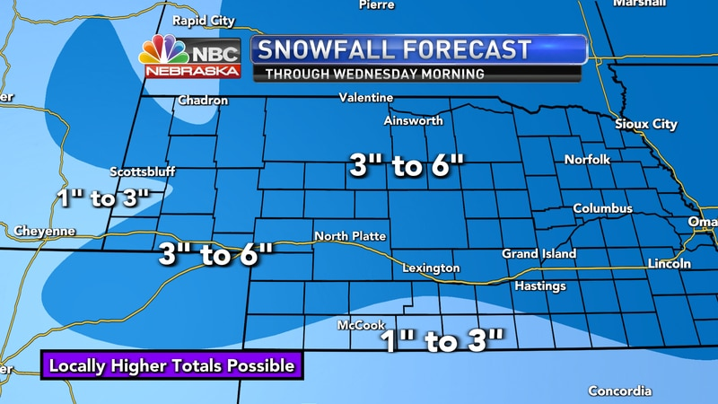 "Much of the coverage area could see 3"" to 6"" of snow Monday night into the day on Tuesday."