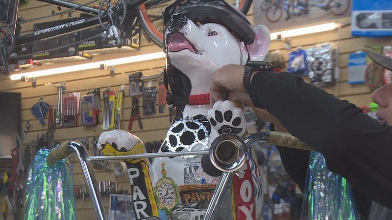 Sprocket was created by Jeff Caldwell in the 2021 Paws on the Platte fundraiser.